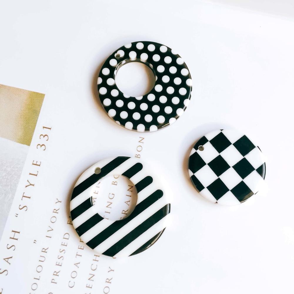8 шт., круглые серьги-подвески, черно-белые