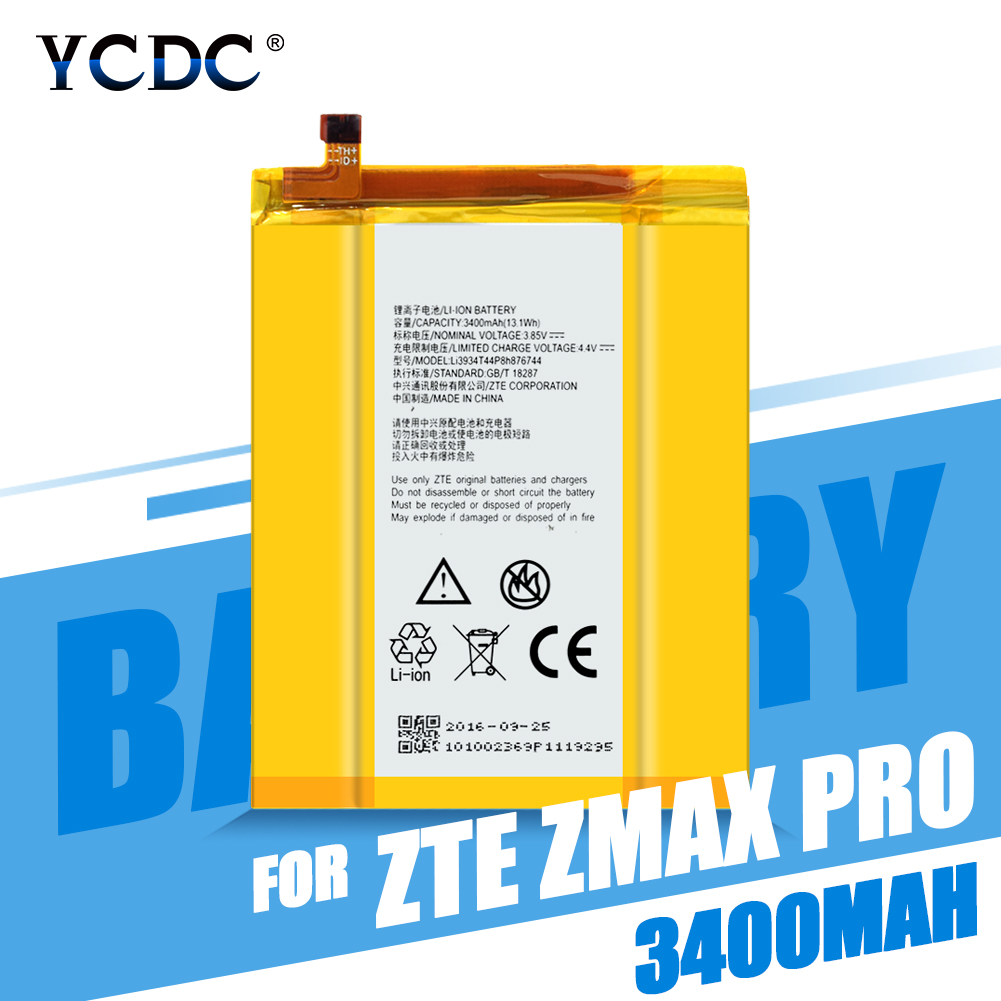 Genuine Replacement Lithium Polymer 3400mAh Battery Li3934T44P8h876744 For ZTE ZMax Pro Z981 Mobile Phone Batteries(China)