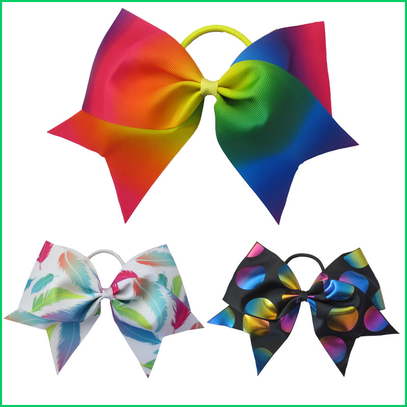 12 BLESSING Good Girl Rainbow Unicorn 7 Cheer Leader Hair Bow Elastic 49 No. ...