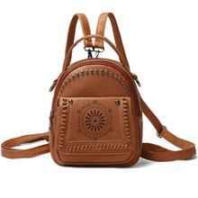 013f92f15448e Plecak Kobiety Etniczne nit rurkowy Duża Pojemność Faux Leather Plecaki  Torby Szkolne(China)