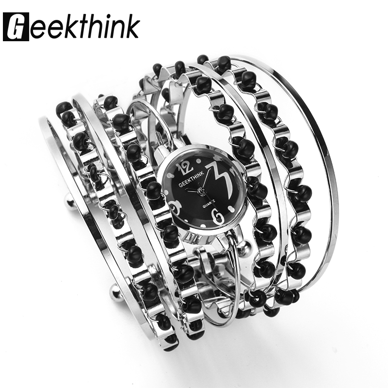 GEEKTHINK Bohemian Style Luxury Brand Quartz Watch Kvinnor Armband Ladies Casual Dress Stålband Klocka Kvinnliga Flickor Armbandsur