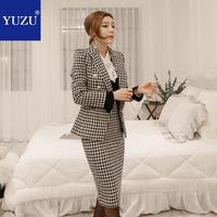 Skirt Suit Houndstooth Office Business Blazer Outfits Double Breasted Long Sleeve Knee length Notched Collar Office Lady Skirt