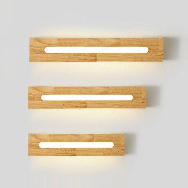 LED En Bois Salle De Bains Appliques Miroir Avant Chambre Lits Mur LED  Appliques Armoire Couloir