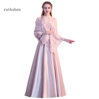 ruthshen Long Halter Neck Elegant Evening Gowns 2018 Robes De Soiree Sleeveless Women Evening Dresses A Line Style With Shawl