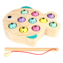 Rowsfire 1 Pcs Magnetic Wooden Fishing Game Parent-Child Interactive Toy For Children Games For Kids magnetic wooden fishing game toy for toddlers alphabet fish catching counting preschool board games toys for 2 3 4 year old kids
