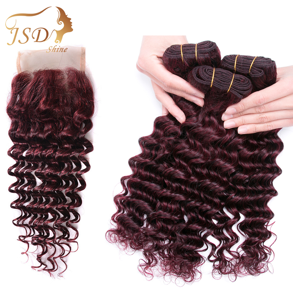 Red 99j Burgundy Deep Wave Brazilian 3 Bundles With Closure Human Hair Extensions With Closure Non Remy Hair Free Shipping