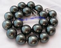 stunning big 20mm black shell pearl necklace
