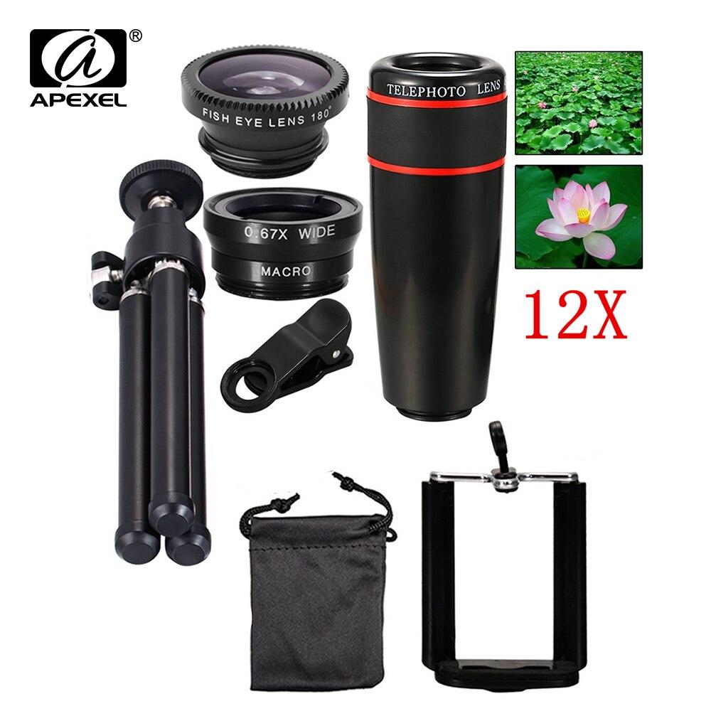 bilder für 5in1 12X Zoom Kamera Teleobjektiv Universal Clip 3in1 Weitwinkel fish eye makro handy-objektiv für xiaomi mi5 meizu m2 12x5in1