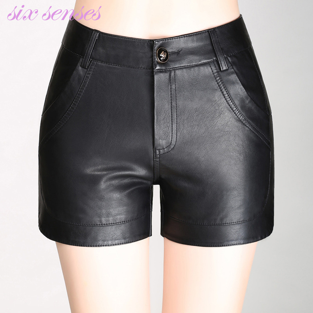 Fashion women shorts spring and autumn sexy black PU leather shorts slim mid-waist plus size lady's shorts,HH0070