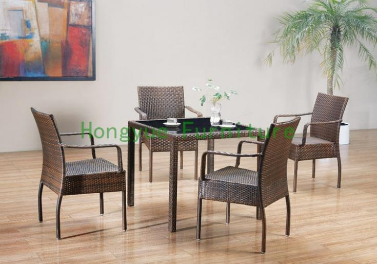 Outdoor new pe rattan dining chairs with tempered glass new pe rattan dining chairs with tempered glass