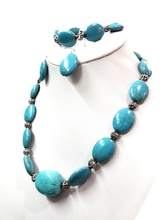 Wedding Jewelry set Green stone Stone Choker Necklace Bracelet Earring Woman jewelry Charm