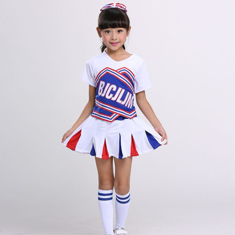 Competition Cheerleaders Set Girl School Cheer Team Uniforms Kids Performance Costume Sets Girls Class Suit Girl Rooter Suits
