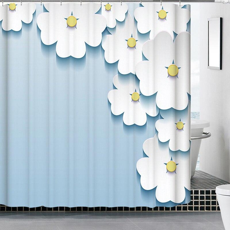 Polyester rideaux De Douche à main levée 180x180 cm 3D Waterfull écrans De bain Rideau De Douche salle De bain Rideau Cortina Ducha volets