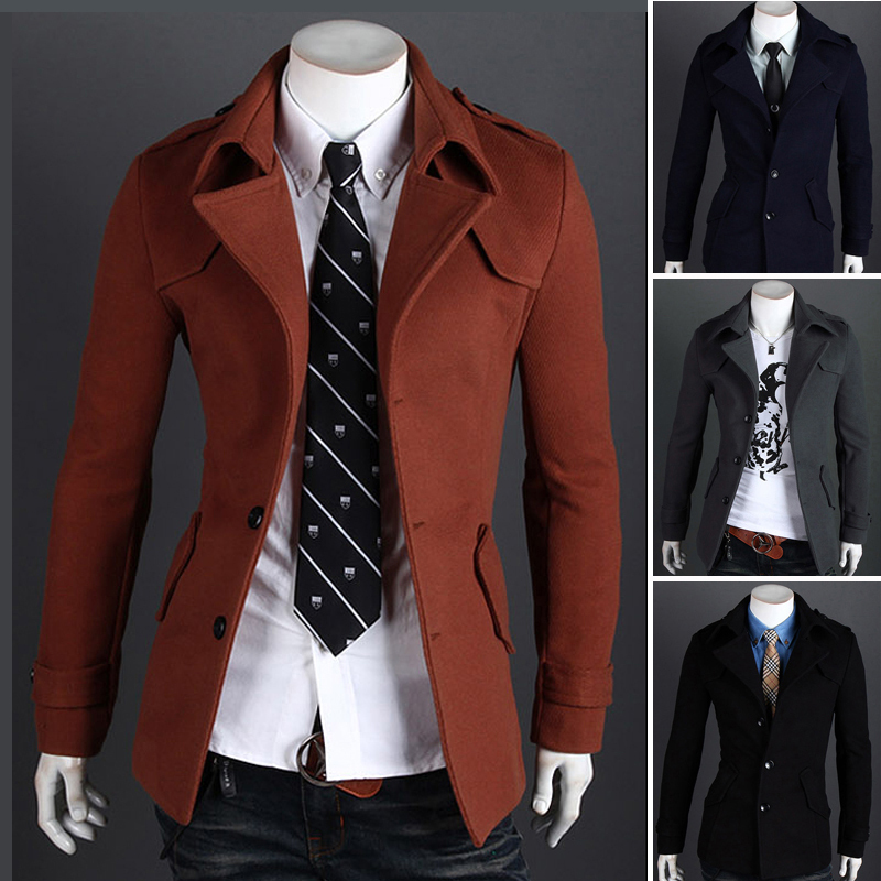 New winter men s woolen coat Korean Slim single or double breasted lapel badges wool jacket