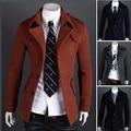 New winter men's woolen coat Korean Slim single or double breasted lapel badges wool jacket M-XXL black gray H1930