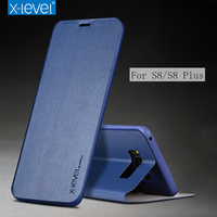 X Level Business Style PU Leather Flip Phone Case For Samsung Galaxy S8 S8 Plus Luxury