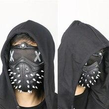 Панк-игра, часы, маски собак 2 WD2, Маркус Холлоуэй, маска, гаечный ключ, косплей, заклепки, маска для лица, половина лица, латексные Вечерние Маски, косплей реквизит