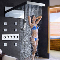 Contemporary Shower Heads Set Wall Mounted Rain Shower System Waterfall Tub Shower Body Jets 2 inch Thermostatic Shower Bath