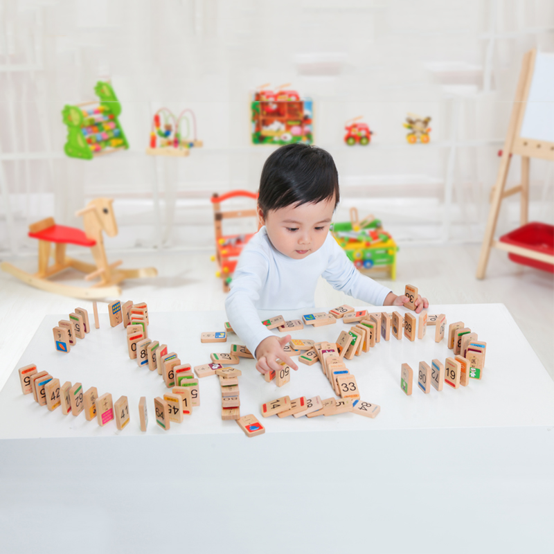 Baby Toy 100pcs Wood Domino Games Wooden Building Blocks Early Educational Toys Animals/Number/Letters/Flag Donimo for Children купить
