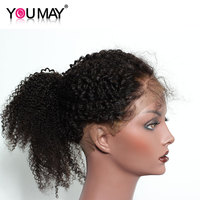 Mongolian Afro Kinky Curly Pre Plucked 360 Lace Frontal Closure Natural Hairline With Baby Hair Natural