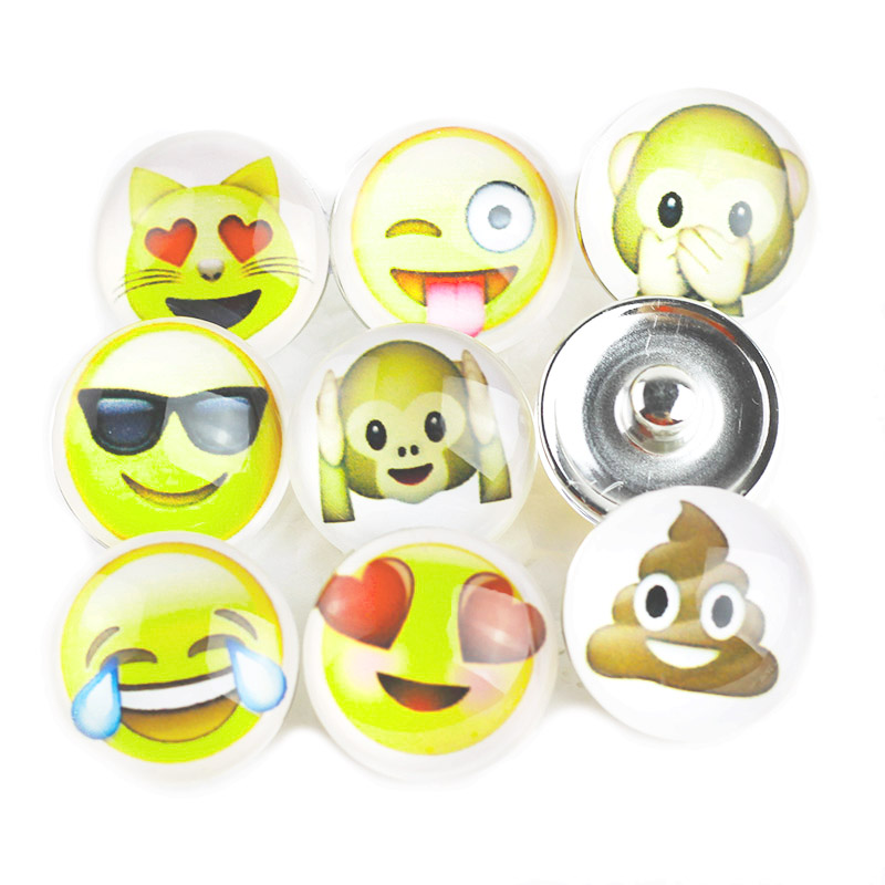 Bo Bo world 10pcs/lot Mixed Expression package 18mm Glass snap button Jewelry Fit snap Bracelet snaps jewelry For Women G123