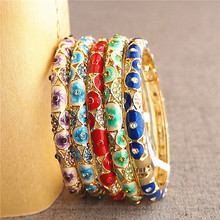 pierced thin Chinese filigree Rhinestone Bangle Women Cloisonne Enamel Bangles Fashion Ethnic Jewelry birthday Gift