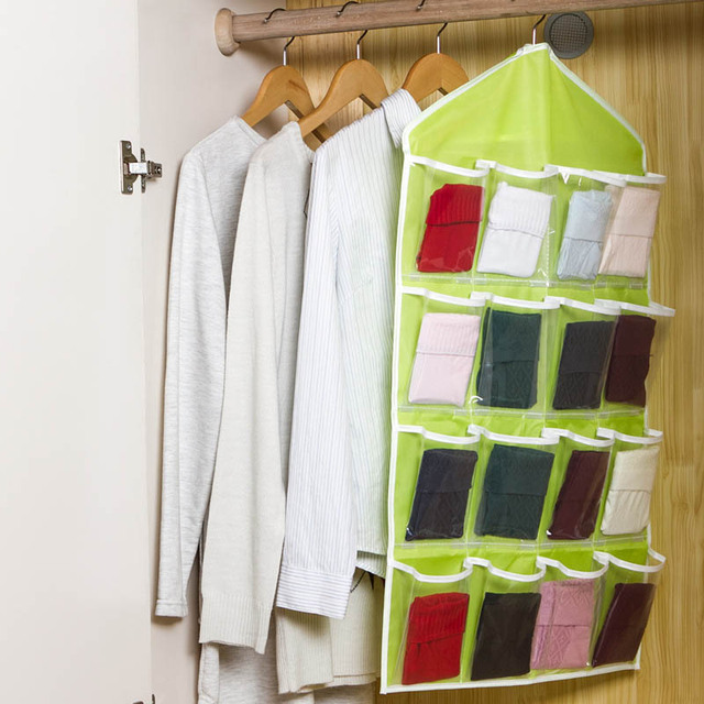 16 Pockets Wall Wardrobe Hanging Organizer Sundries Scarf Socks