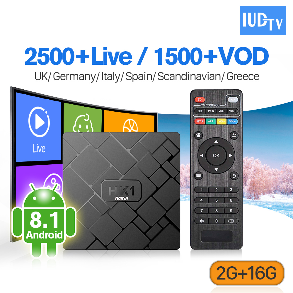 IPTV Spanish Sweden Android 8 1 Box IUDTV IPTV Code 1 Year 2GB 16GB RK3229 2 4G Wifi HK1mini IPTV Italy UK Germany Sweden IP TV in Set top Boxes from Consumer Electronics