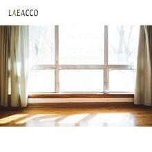 Laeacco Room Window Curtain Sunshine Wooden Floor Home Decor Photography Background Photographic Backdrop Photocall Photo Studio