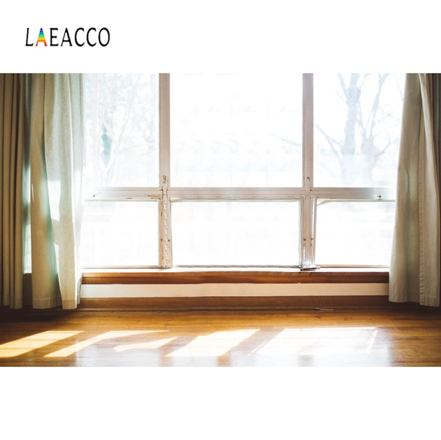 Laeacco Room Window Curtain Wooden Floor Sunshine Interior Photography Backgrounds Photographic Backdrops Photocall Photo Studio