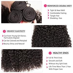 Image 4 - Nadula saç brezilyalı kıvırcık saç örgü 3 adet/4 adet brezilyalı Remy saç demetleri anlaşma 100% kıvırcık insan saçı uzatma 8 26 inç