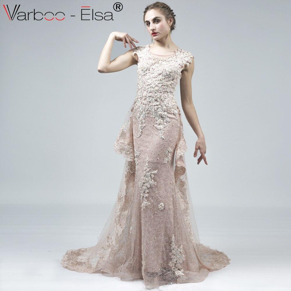 c420916773 VARBOO ELSA Alta Qualidade Luxo Beading Longo Vestido de Baile 2018 Mangas  de Renda Bege Vestido Formal Tribunal Trem Da Sereia Vestido de Noite em  Vestidos ...