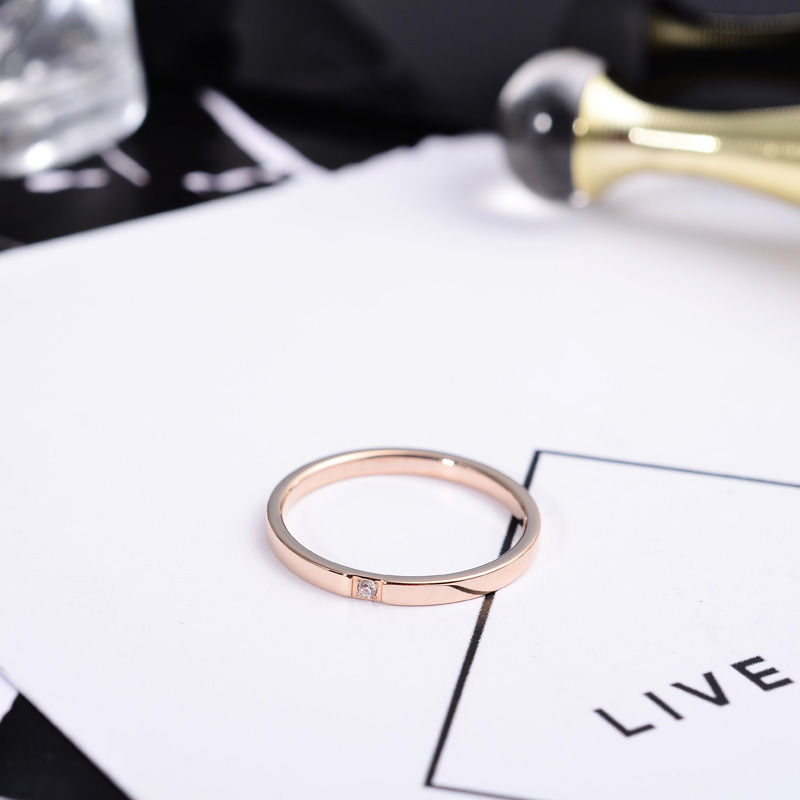 316l Stainless Steel Single Crystal Thin Band Ring Men Women Lover Couples Engagement Ring Rose Gold Silver Color Slim Tail Ring