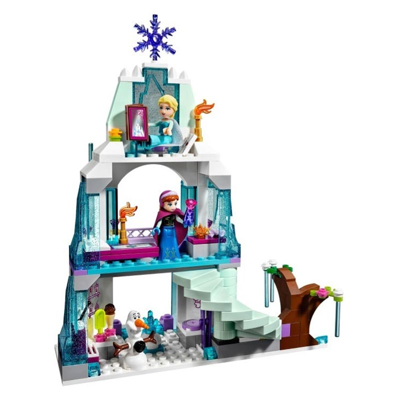 Girls Princess Elsa Sparkling Ice Castle Building Bricks Anna Queen Kristoff Olaf Elsa Toy Building Blocks Compatible with Legoe