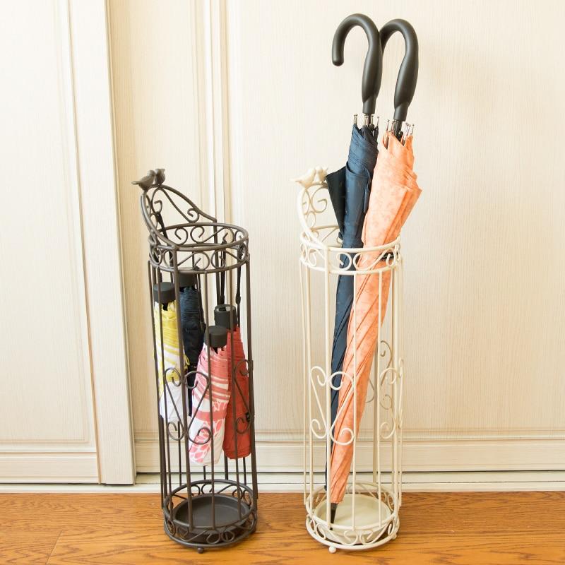 Metal style multifunctional metal umbrella stand round creative folding umbrellas household umbrella hanging barrel