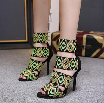 New European and American stiletto with black opentoed zipper 11cm high heel sandals female Roman high heels summer