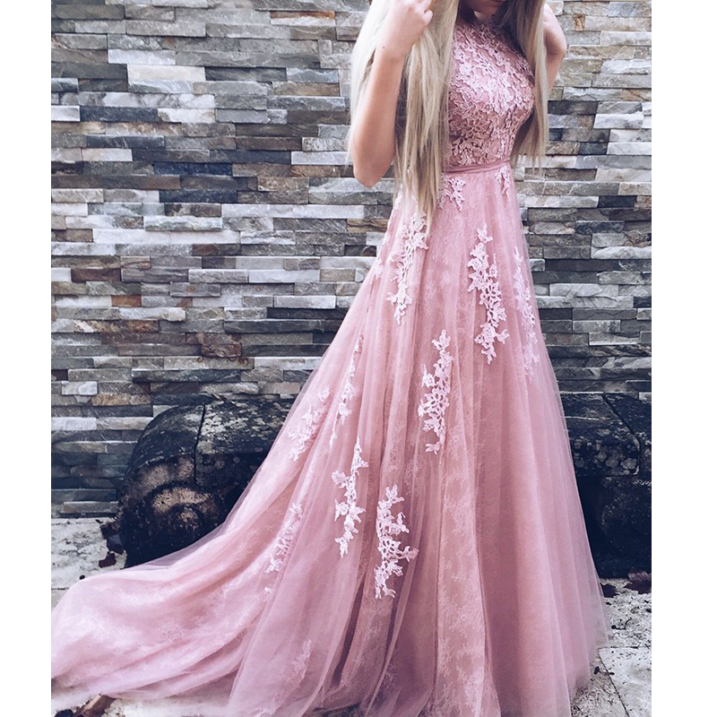 Custom made Open Back Evening Party Dress Sleeveless Lace Appliques Tulle A line Elegant Prom Dress