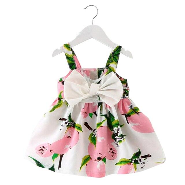 2017 New Baby Kids Dress Girl Dresses Lemon Print Baby Girls Clothes