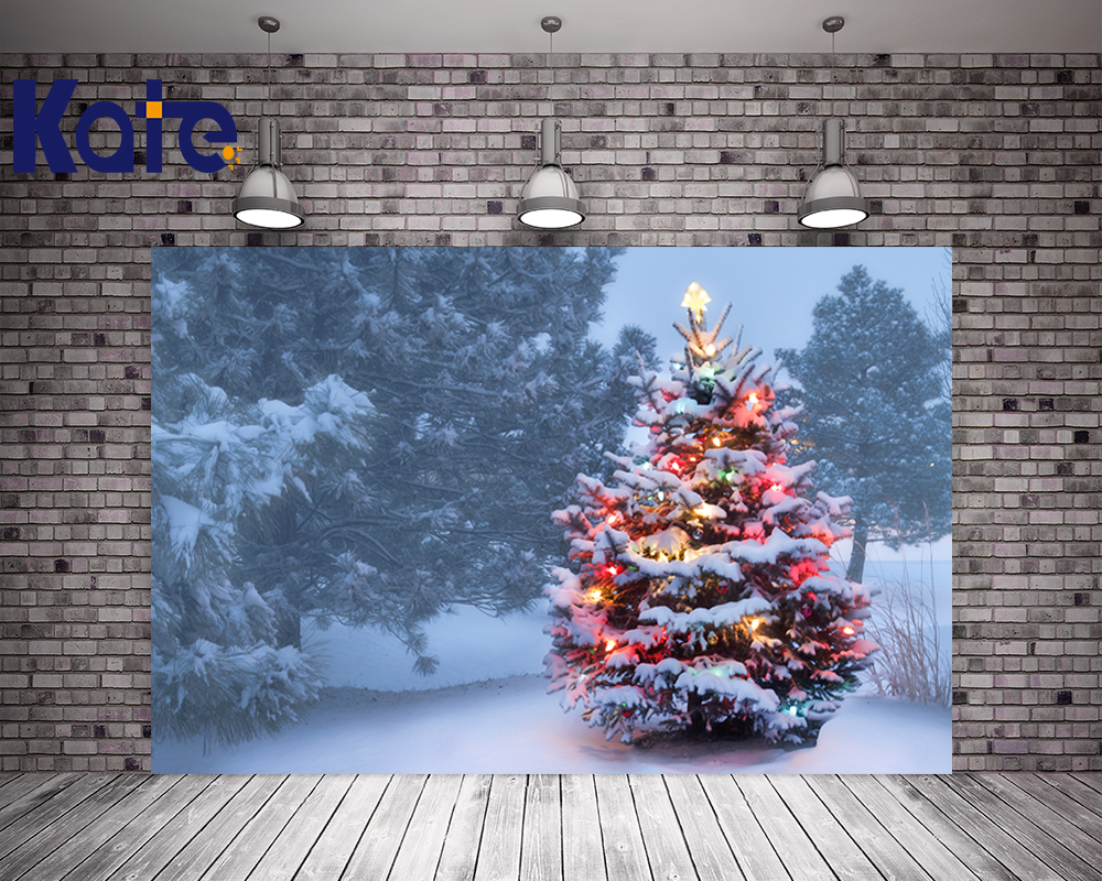 Kate Winter Snow Photography Backdrops Christmas Tree Cartoon Forest Background For Children Photo Studio Microfiber Background