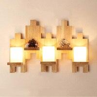 Lâmpada de Parede de madeira de carvalho Moderna Luzes E27 Para O Quarto Casa de Iluminação De Madeira + Vidro  Arandela mosaico de madeira sólida parede de luz Lamparas