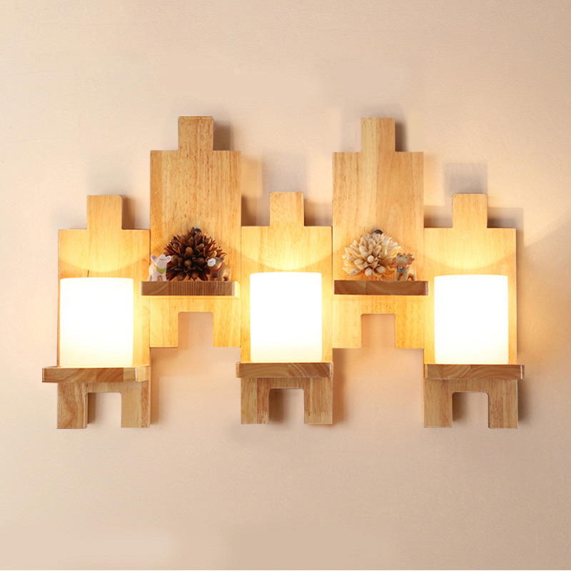 Oak Modern wooden Wall Lamp Lights Wood+Glass E27 For Bedroom Home Lighting,Wall Sconce solid mosaic wooden wall light Lamparas modern lamp trophy wall lamp wall lamp bed lighting bedside wall lamp