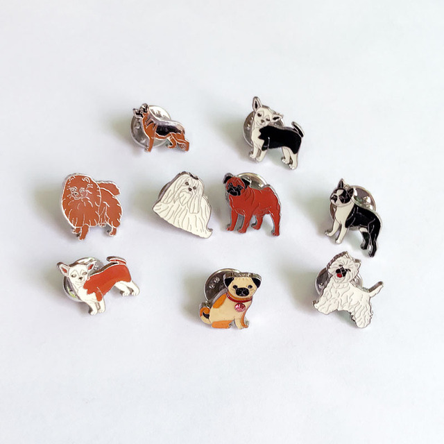Dog lovers mini pug dogs brooches pins pendant badge decorated cartoon cute brooches for men Jewelry women Fashion gifts Badges