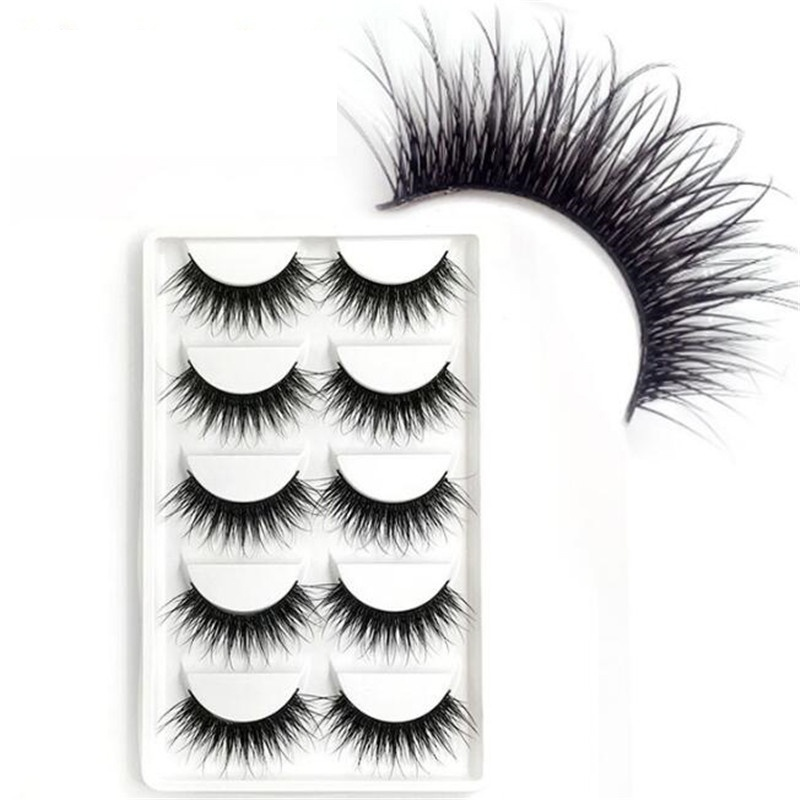 5 Pairs 3D Faux Mink Lash Hair Soft False Eyelashes Fluffy Wispy Thick Lashes Handmade Soft Eye Makeup Extension Tools in False Eyelashes from Beauty Health