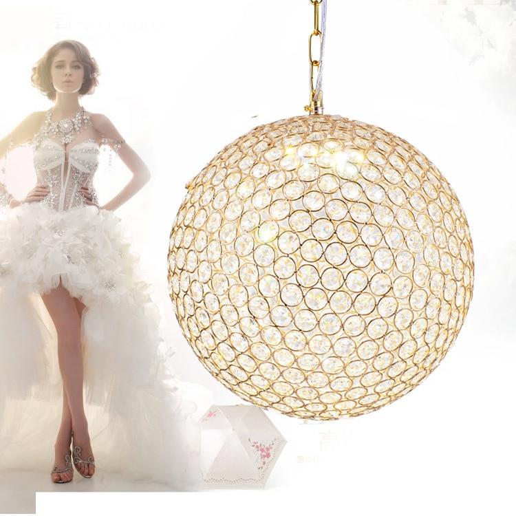 Modern Brief American Dining Room Golden Iron E14 Bulb Pendant Light Fixture Home Deco Norbic Chrome Crystal Ball Pendant Lamp
