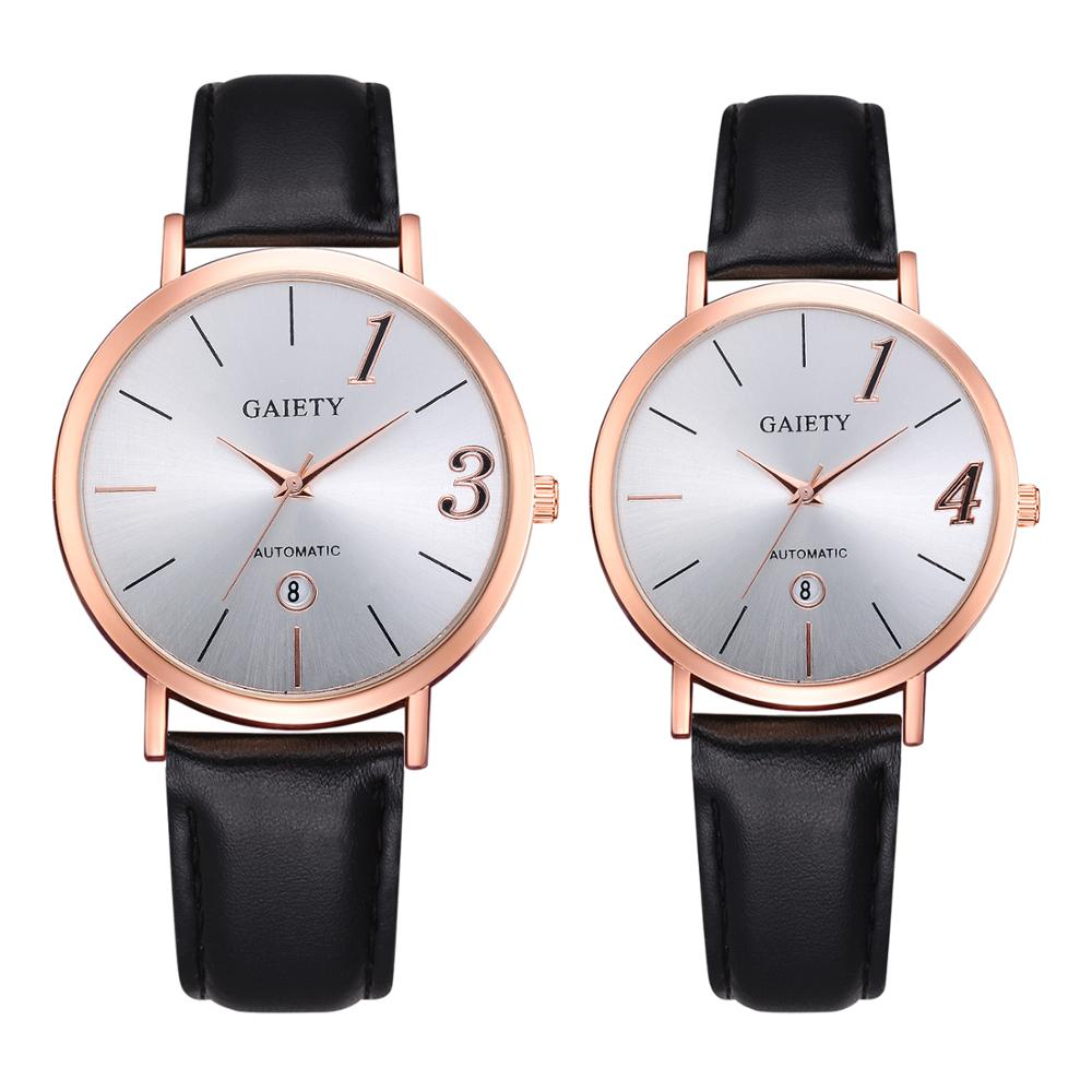 Couple Watch Fashion Leather Strap Sports Casual Women Men Watches Quartz Clock 1314 Design Lover Watch Gift Relogios Femininos