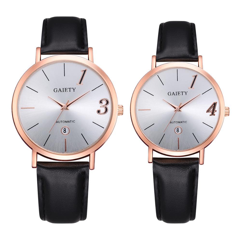 Couple Watch Fashion Leather Strap Sports Casual Women Men Watches Quartz Clock 1314 Design Lover Watch Gift Relogios Femininos