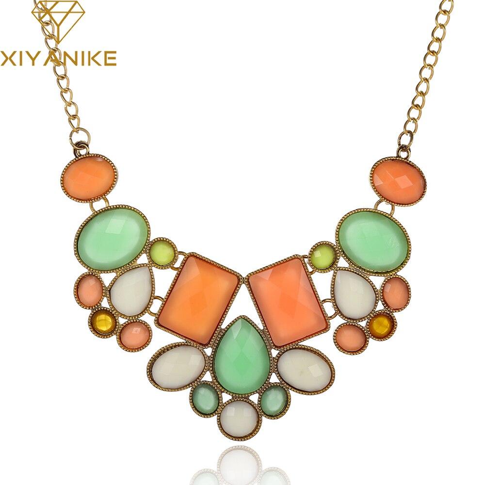 New Statement Choker Fashion Charms Geometry Collar Gem Beads