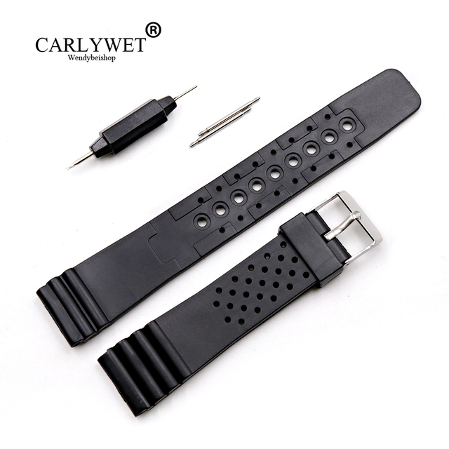 CARLYWET 20mm Black Replacement Silicone Rubber Straight End Wrist watch Band St