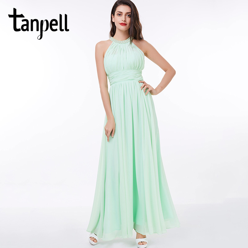 Tanpell halter   prom     dress   elegant mint sleeveless floor length a line   dresses   cheap beaded pleats long women party   prom     dress