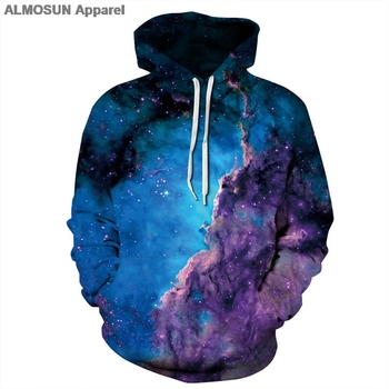ALMOSUN Colors Galaxy Space 3D All Over Print Hoodie Sweatshirt Jumper Fashion Hoody Streetwear Men Women